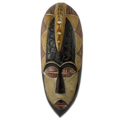 African wood mask, 'Herjole' - Artisan Made Original African Wall Mask of Peace with Dove
