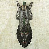 African wood mask, 'Mmerichukwu' - Artisan Crafted African Wood Wall Mask of God's Victory