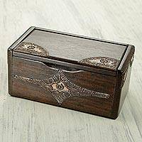 Wood decorative box, 'Sika Korkoo Kwrabia in Brown' - Decorative Wood Box with Aluminum from West Africa