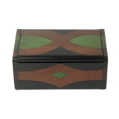 Wood box, 'Sika Korkoo Kwrabia III' - Decorative Sese Wood and Aluminum Plate Box from West Africa