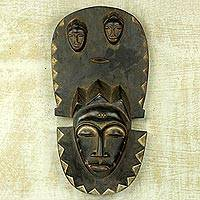 African wood mask, 'Baule Legacy' - Baule Traditional Wall Mask Replica Hand-Carved in Ghana