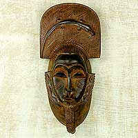 African wood mask, 'Bearded Gentleman' - Artisan Carved Authentic African Mask with Gecko