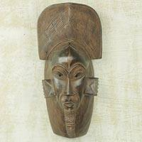 African wood mask, 'Spirit of Guro' - African Wall Mask Guro Healer Hand Carved Wood Art