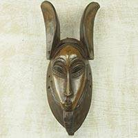 African wood mask, 'Zamble' - Handcrafted Tribal Antelope-leopard Man African Wall Mask
