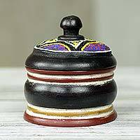 Wood box, 'Ancestral Akan' - Artisan Crafted Beaded Decorative Wood Box African Art