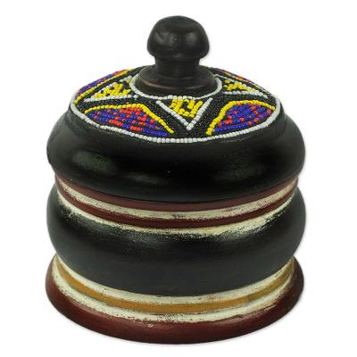 Artisan Crafted Beaded Decorative Wood Box African Art