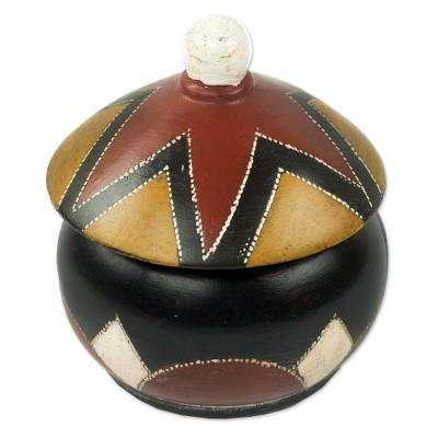Wood box, 'Star Hut' - African Decorative Box in Hand Carved Wood with Star Roof
