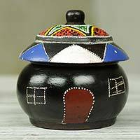 Wood box, 'Royal Hut' - Decorative Wood Box Shaped Like Hut with Beadwork