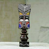 Wood sculpture, 'Liberated Woman' - Beaded African Sculpture Liberated Woman Crafted by Hand