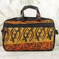 Leather accent cotton batik laptop bag, 'Fire and Spice' - Yellow-Orange 100% Cotton Batik Laptop Bag Made in Ghana
