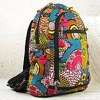Cotton batik backpack, 'Krokrobite'