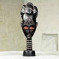African wood mask, 'Ashanti Lady' - Artisan Crafted African Wood Tabletop Mask from Ghana