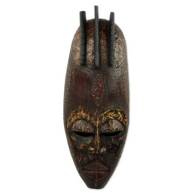 Artisan Crafted African Wood Wall Mask from Ghana