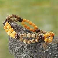 Agate and wood stretch bracelet, 'Somensa' - Handmade Agate and Wood Stretch Bracelet from Ghana