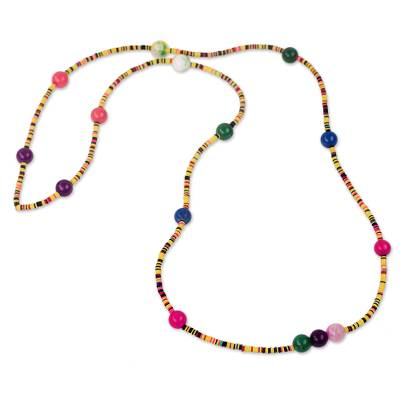 Agate and recycled plastic long beaded necklace,