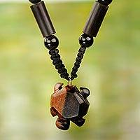 Agate and wood beaded pendant necklace, 'Tortoise' - Handmade Agate and Ebony Wood Necklace with Tortoise Pendant