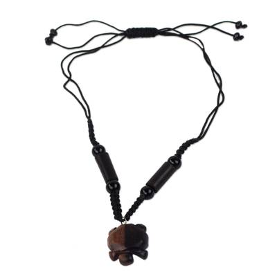 Handmade Agate and Ebony Wood Necklace with Tortoise Pendant