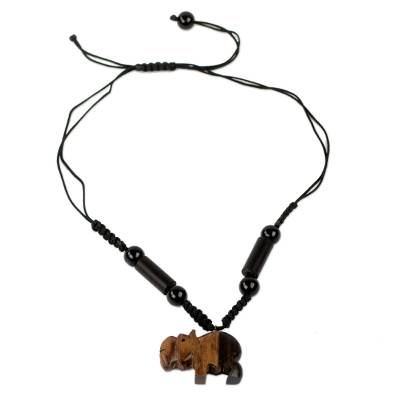 Agate and ebony wood pendant necklace, 'Happy Hippo' - Artisan Crafted Beaded Agate Necklace with Hippo Pendant