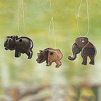 Wood ornaments, 'African Mammals' (set of 4) - Hand Carved Wood Ornaments Elephant Rhino from Ghana