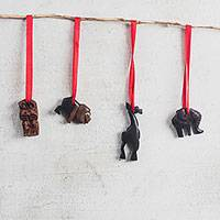 Wood ornaments, 'Royal Procession' - Hand Carved Wood African Animal Ornaments from Ghana