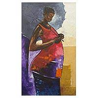 'Single Shade' - Original Signed Acrylic Portrait of Woman with Umbrella