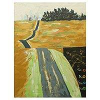 'The Cry of the Weary' - Path of Life Signed Painting Ghanaian Landscape in Acrylics