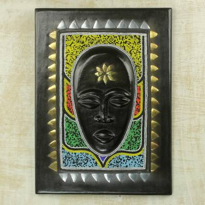 Original African Wood Wall Art With Glass Bead Accents Ayeye