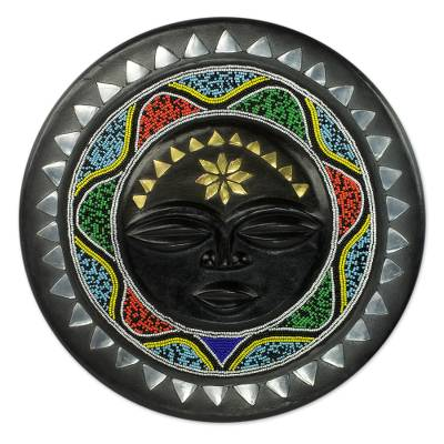 African wood wall decor, 'Nsurumaa' - Beaded African Wall Plaque with Star Motif and Metal Accents