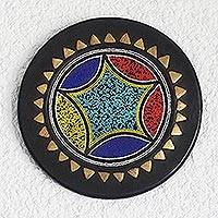 Recycled glass beaded wood decorative plate, 'Star of Accra' - African Brass Inlay Hand Beaded Decorative Wood Plate
