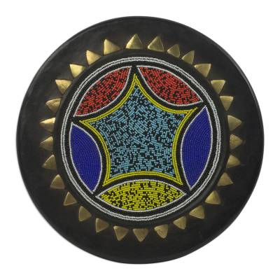 African Brass Inlay Hand Beaded Decorative Wood Plate
