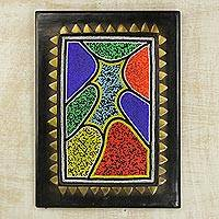 Beaded wood wall plaque, 'Colors of Africa' - Colorful African Beaded Wood Wall Accent from Ghana