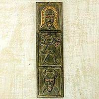Wood wall panel, 'Senufo Face' - Hand Carved Wood Wall Decor by Ghana Artisan West Africa