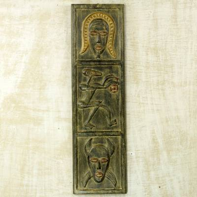 Hand Carved Wood Wall Decor By Ghana Artisan West Africa Senufo Face