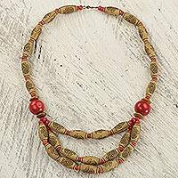 Wood and recycled plastic beaded necklace, 'Prosperous Love in Red' - Hand Crafted Recycled Plastic and Red Wood Beaded Necklace