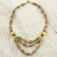 Wood and recycled plastic beaded necklace, 'Prosperous Love in Yellow' - Ghanaian Hand Crafted Sese Wood and Plastic Beaded Necklace
