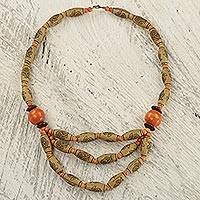 Wood and recycled plastic beaded necklace, 'Prosperous Love in Orange' - Recycled Plastic and Wood Beaded Necklace with Floral Motif