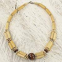 Bamboo and wood beaded necklace, 'Earthy Beauty in Brown' - Artisan Crafted Wood and Bamboo Beaded Necklace from Ghana