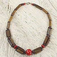 Wood and bamboo beaded necklace, 'Rustic Beauty in Red' - Ghanaian Wood and Bamboo Beaded Necklace with Red Accents