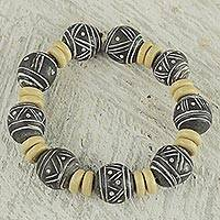 Featured review for Wood and terracotta beaded stretch bracelet, Rustic Royalty