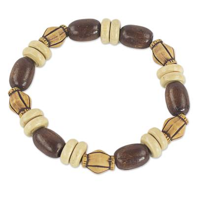 Handmade Brown Wood and Recycled Plastic Beaded Stretch Bracelet