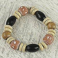 Agate beaded stretch bracelet, 'Glistening Earth' - Hand Crafted Agate and Sese Wood Beaded Stretch Bracelet