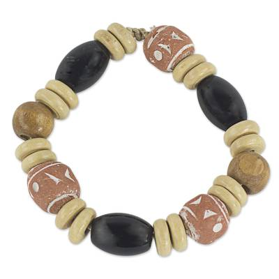 Hand Crafted Agate and Sese Wood Beaded Stretch Bracelet