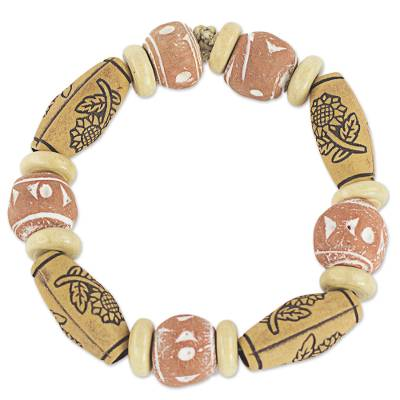 Hand Crafted Stretch Bracelet with Floral Motif from Ghana