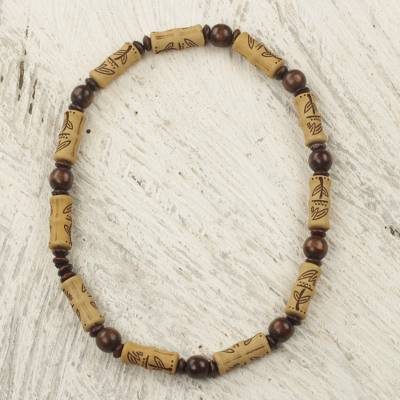 Wood and recycled plastic beaded necklace, 'Natural Leaves' - Sese Wood and Recycled Plastic Beaded Necklace from Ghana