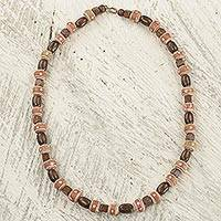 Wood and terracotta beaded necklace, 'Nkyia Nature' - Artisan Crafted Ghanaian Wood and Terracotta Beaded Necklace