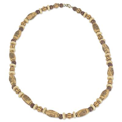 Wood and recycled plastic beaded necklace, 'Desert Mirage' - Hand Crafted Beaded Necklace with Floral Motif from Ghana