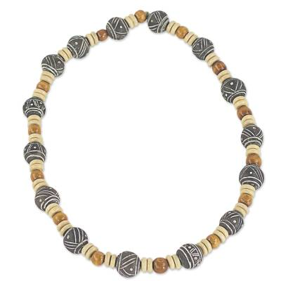Wood and terracotta beaded necklace, 'Rustic Royal' - Artisan Crafted Rustic Beaded Necklace from West Africa