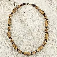Wood and recycled plastic beaded necklace, 'Beautiful Moneyuo' - Hand Crafted Wood and Recycled Bead Necklace from Ghana