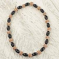 Agate and terracotta beaded necklace, 'Black Divinity' - Hand Crafted Agate and Terracotta Beaded Stretch Necklace