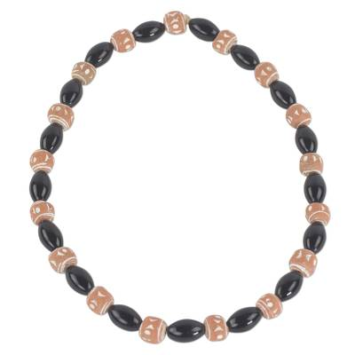 Hand Crafted Agate and Terracotta Beaded Stretch Necklace